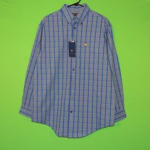 Jack Nicklaus Mens M Blue Plaid Long Slv Shirt NEW